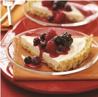 Cheesecake Tart with Popcorn Crust and Berries