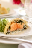 salmon and rice stuffed pastry